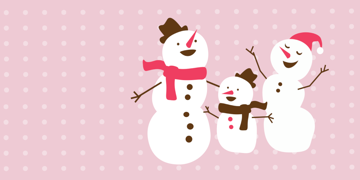 A family of snowmen in good spirits