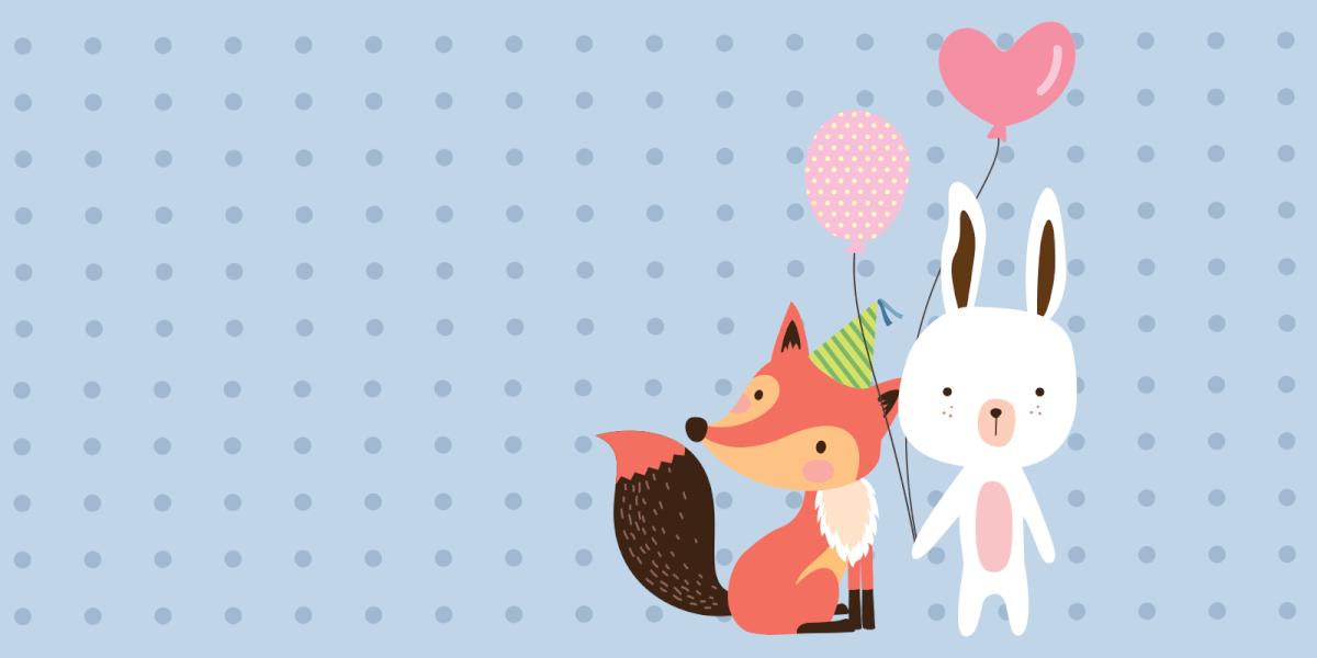 Fox and rabbit holding balloons