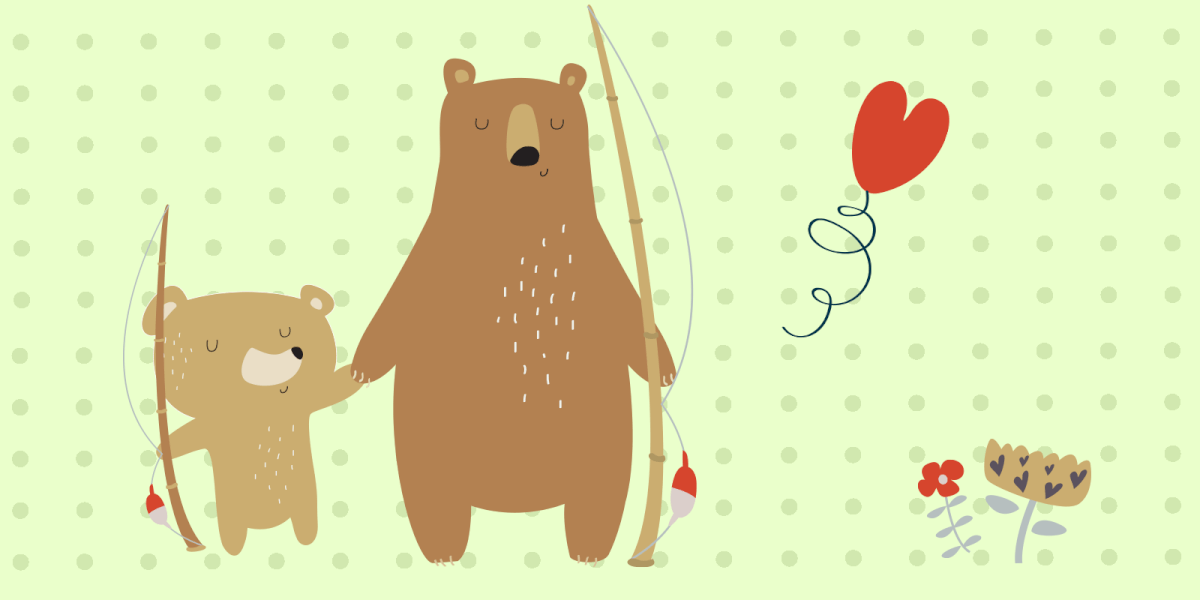 Bear father and cub holding hands - Father's Day