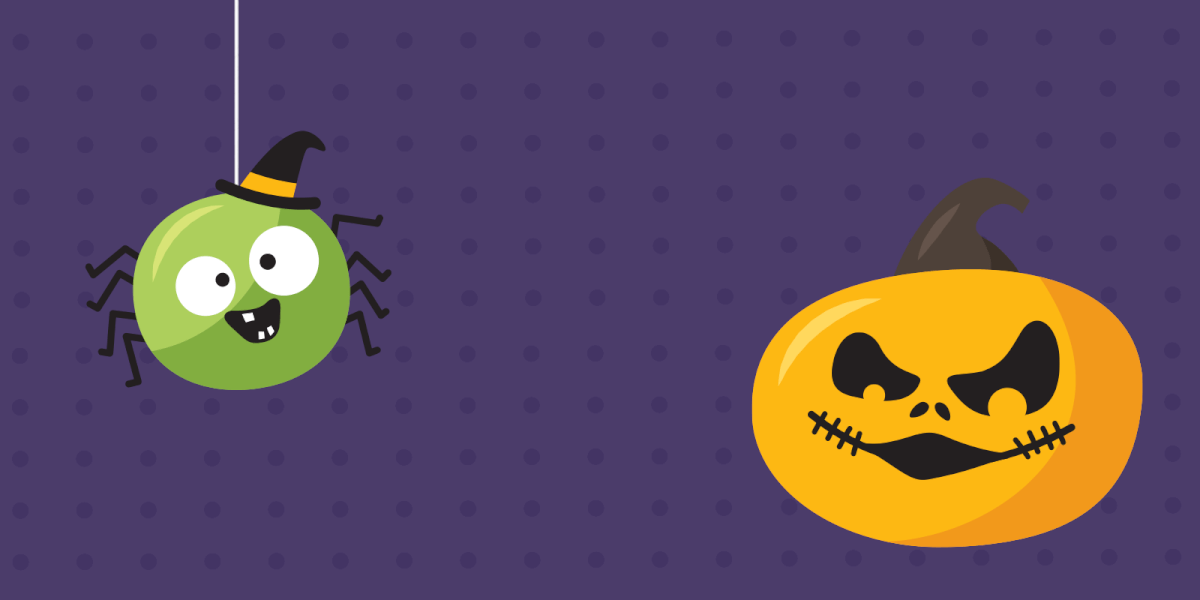 Funny spider and menacing pumpkin lantern Halloween
