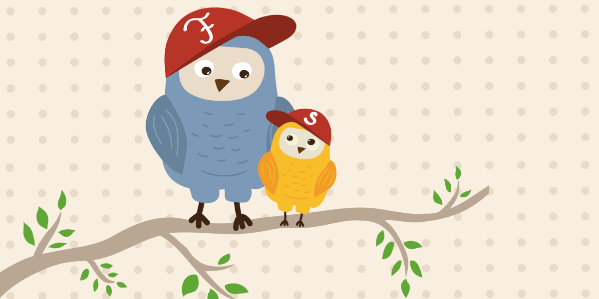 Father and son owls sitting together on a branch wearing baseball caps