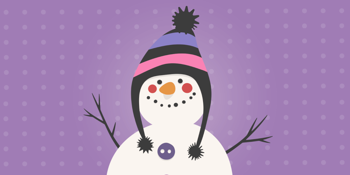 Smiling snowman in a funny hat