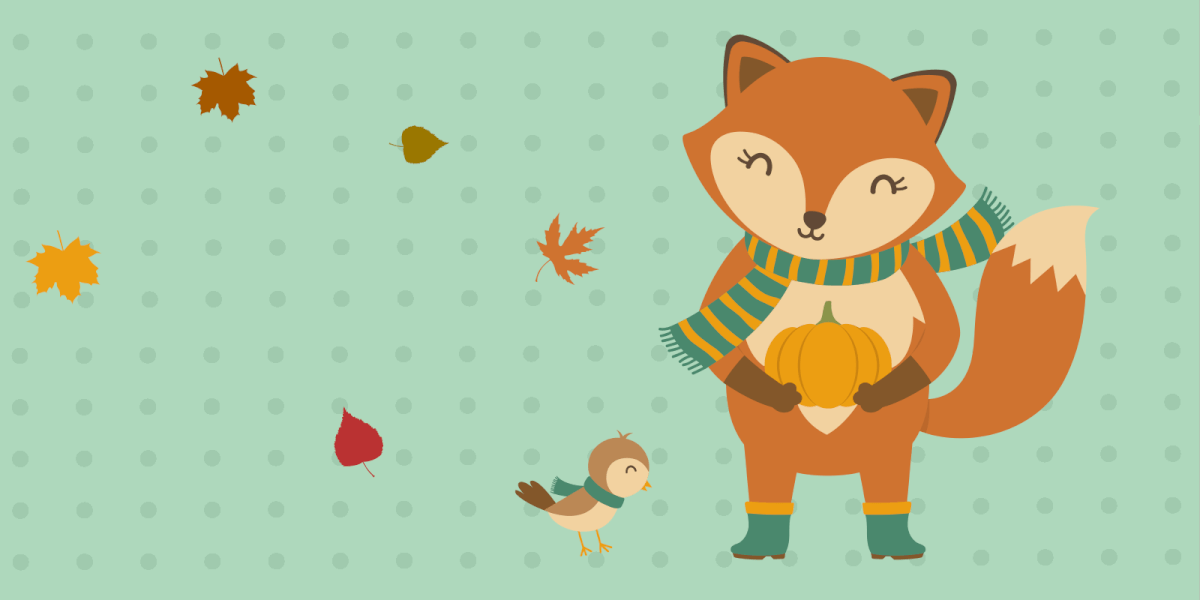 Fox and bird wrapped in scarfs ready to celebrate Thanksgiving