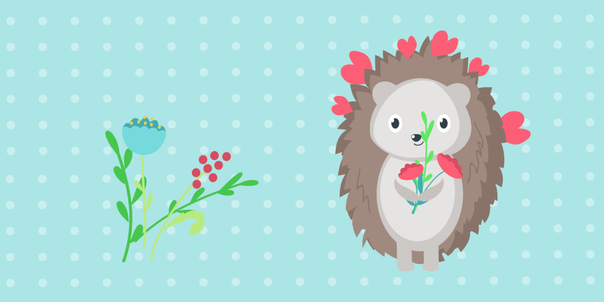 Hedgehog with flowers for Valentine's Day