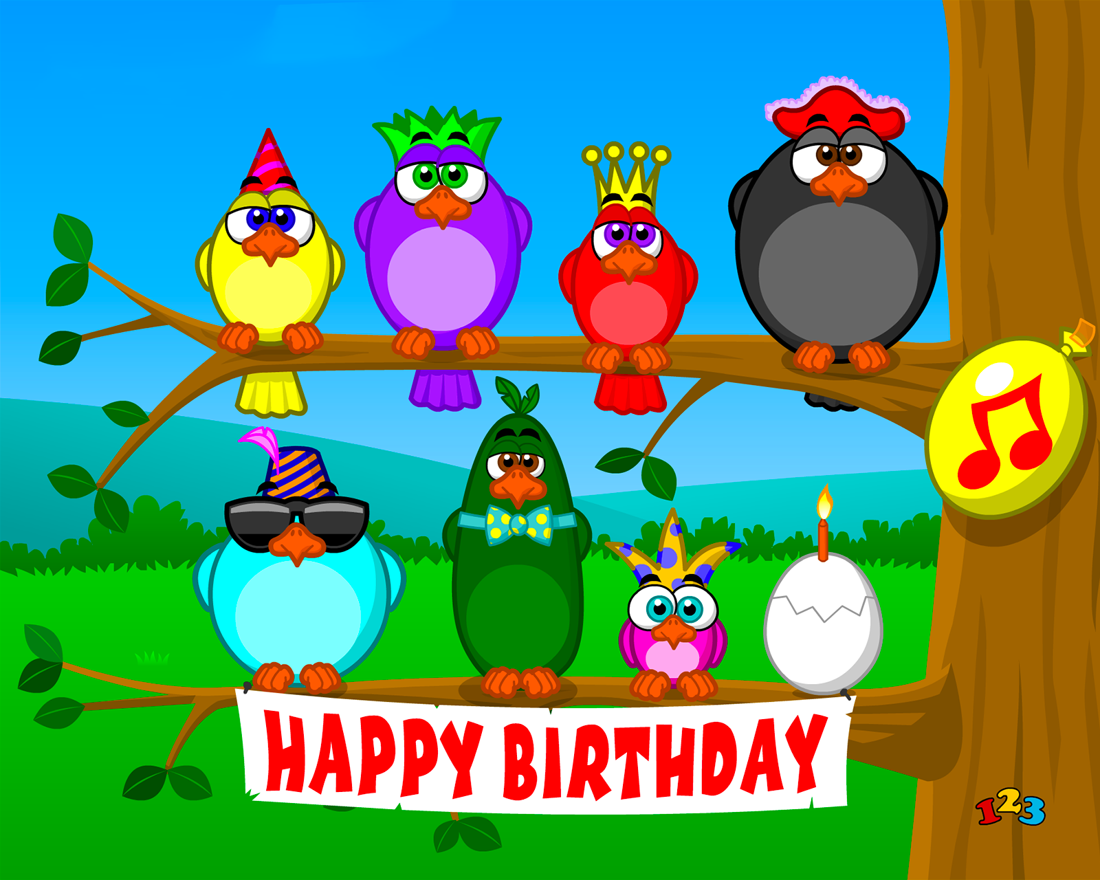Singing birds - Birthday - send free eCards from 123cards.com